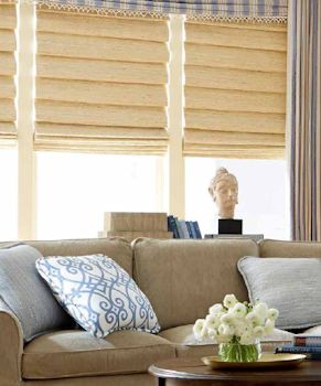 Horizons Roman Woven Shades in a beautiful setting