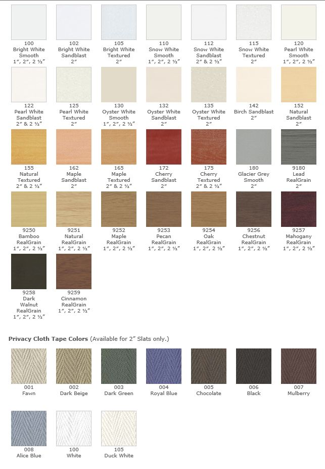 Patrician Faux Wood Color Samples