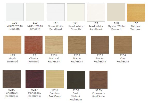 Patrician fauxwood color choices