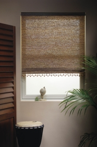 roller shades in rainforest fabric