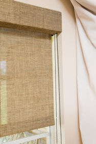 photo of fascia on roller shades in a relaxed setting